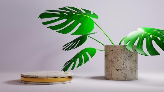 금 무늬 대리석 연단과 관상용 식물 배경의 3d 렌더링. 쇼 제품에 대한 모형.
