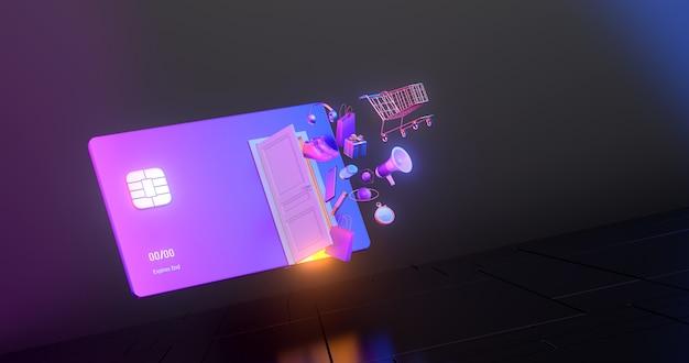 신용 카드로 골드 쇼핑 카트의 3d 렌더링.