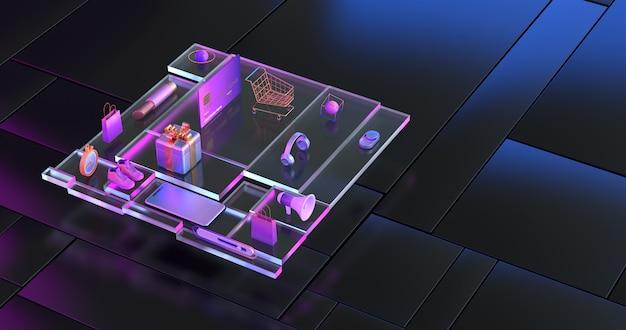 선물 상자 골드 쇼핑 카트의 3d 렌더링.