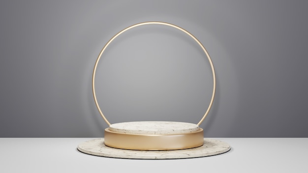 회색 방 배경에 제품을 표시하기 위한 금색 줄무늬 대리석 연단의 3d 렌더링. 쇼 제품에 대한 모형.