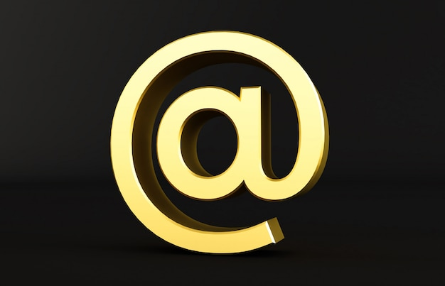 Перевод 3d золотого на знаке изолированном на черной предпосылке. arobase