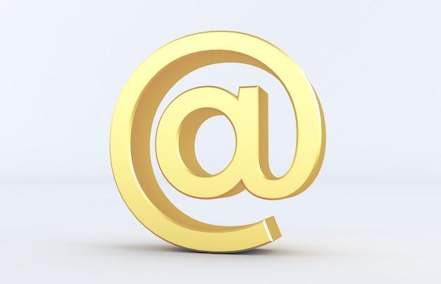 Перевод 3d золотого на знаке изолированном на белой предпосылке. arobase