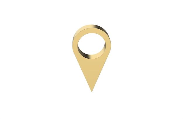 3d-рендеринг золотой булавки на белом фоне