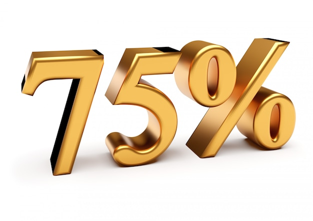 3d-рендеринг золотых семидесяти пяти процентов