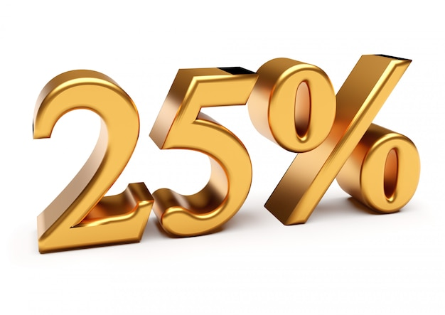 3d-рендеринг золотых двадцати пяти процентов