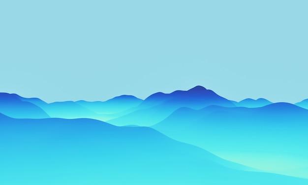 グラデーションブルーの地形の3dレンダリング