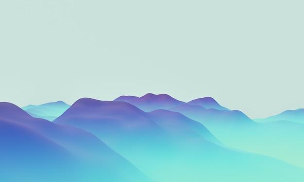 그라디언트 블루 지형 지형의 3d 렌더링