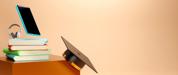 薄緑色の背景に卒業帽、本、携帯電話の3dレンダリング。リアルな3d形状。教育オンラインコンセプト。