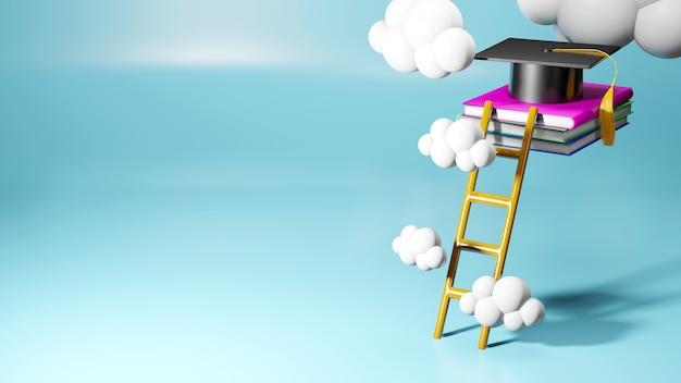 3d-рендеринг выпускной крышки, книг и лестницы на синем фоне. реалистичные 3d-формы. концепция образования. попытки завершить исследование.