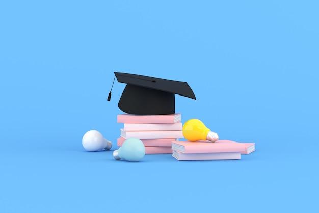 파란색 배경에 전구와 책이 있는 졸업 모자의 3d 렌더링.