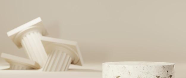 그리스 기둥과 대리석 연단 배경의 3d 렌더링. 쇼 제품에 대한 모형.