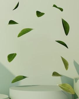 製品プレゼンテーション用の緑色の背景の3dレンダリング。葉のある表彰台。