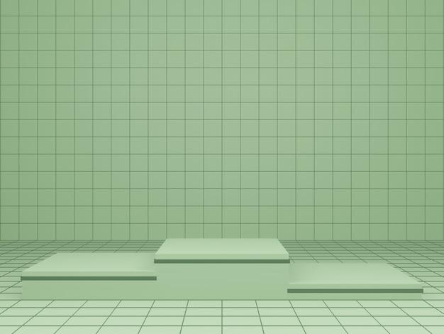 緑の幾何学的な製品スタンドの3dレンダリング
