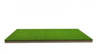 分離された緑の芝生のフィールドの3 dレンダリング。