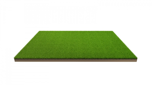 고립 된 녹색 잔디 필드의 3d 렌더링입니다.