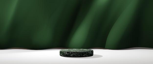 제품 디스플레이 배경에 대한 녹색 대리석 연단의 3d 렌더링. 쇼 제품에 대한 모형.