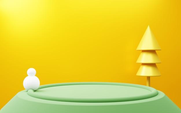 노란색 배경 크리스마스 개념 광고 제품 디스플레이와 녹색 연단의 3d 렌더링