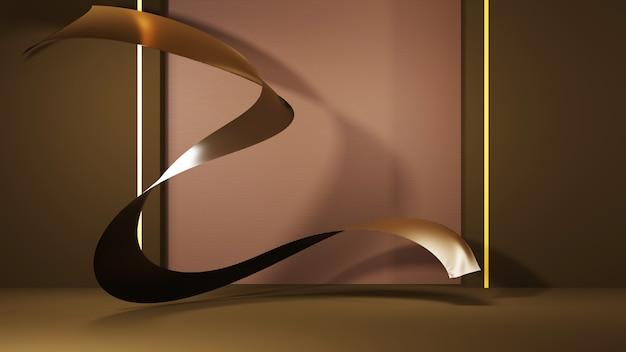 製品と金の布地の背景を表示するためのグリーンルームの3dレンダリング。ショー商品用。空白のシーンのショーケースのモックアップ。