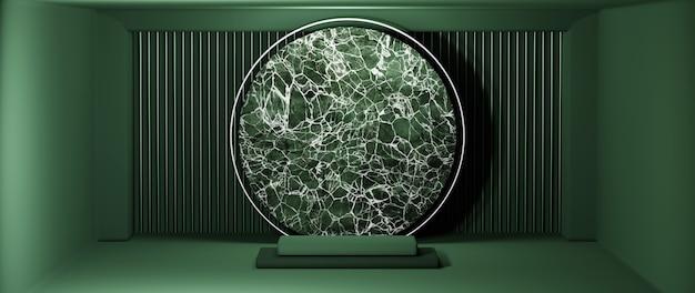 녹색 방 배경에서 녹색 사각형 연단과 대리석의 3d 렌더링. 쇼 제품에 대한 모형.