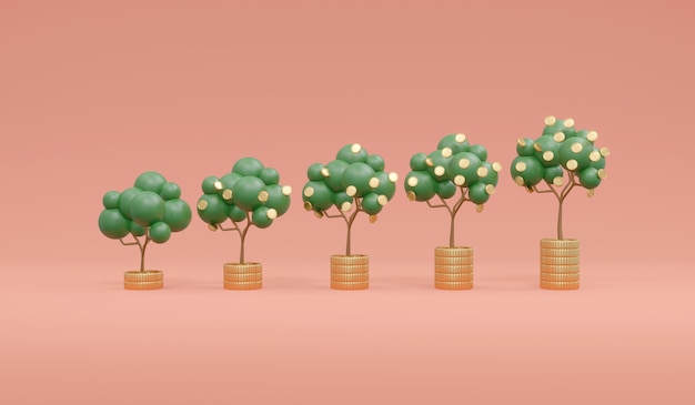 머니 트리 성장의 3d 렌더링 배경에 동전 더미에 작은 것부터 큰 것까지 정렬