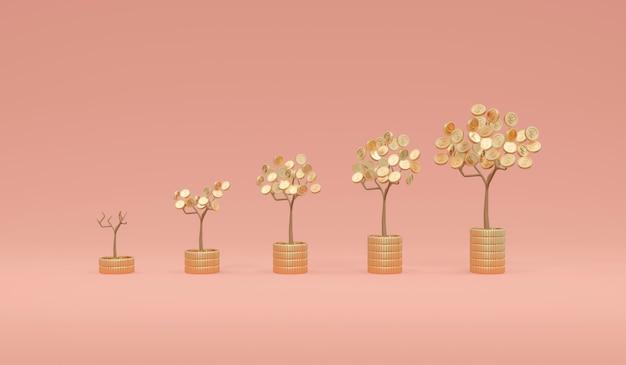 3d 렌더링 머니 트리 성장의 코인 휴가가 코인 스택에 작은 것부터 큰 것까지 정렬됩니다.
