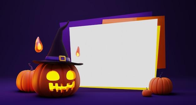 3d-рендеринг хэллоуина тыквенный фонарь в шляпе ведьмы, украшение духа огненного шара и пустой баннер на фиолетовом
