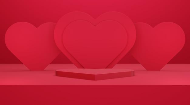 赤い空のスタジオルームとハートの壁、製品の背景、バレンタインデーの表示用のテンプレートモックアップ、愛の概念とハート型の表彰台または台座の3dレンダリング