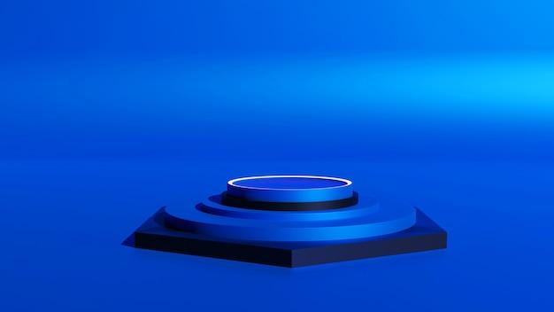 六角形の濃い青黒のモックアッププラットフォームの3dレンダリング