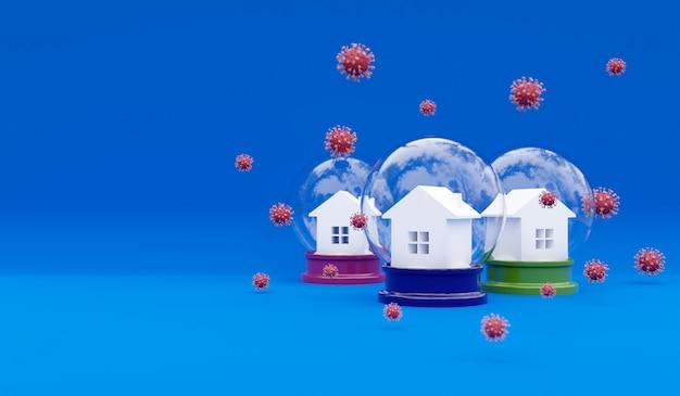 집과 코로나 바이러스의 분자의 3d 렌더링. 인식 소셜 미디어 캠페인 및 코로나 바이러스 예방 포스터. 집에서 안전하게 지내십시오. 바이러스 폐렴 예방 그림