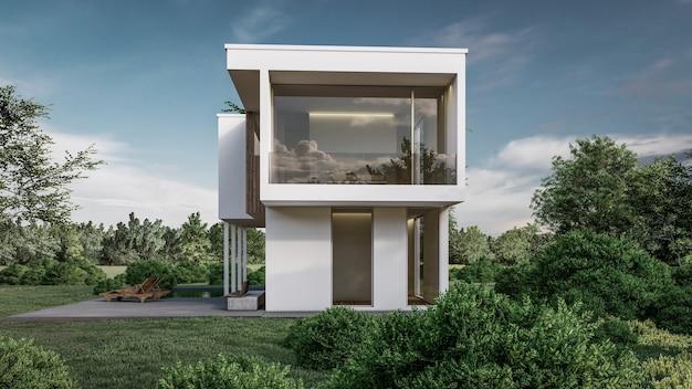 3d визуализация дома иллюстрации