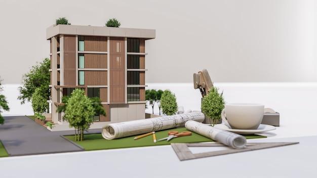 家のモデルイラストの3dレンダリング