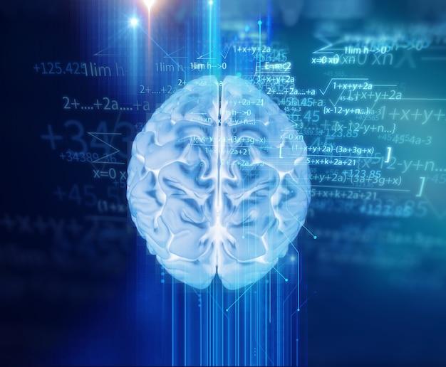 기술 배경에 인간 두뇌의 3d 렌더링