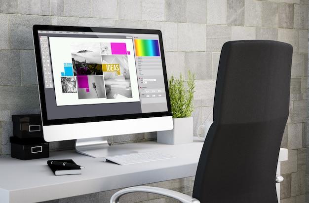 컴퓨터 화면에 그래픽 디자인 소프트웨어를 보여주는 산업 작업 공간의 3d 렌더링.