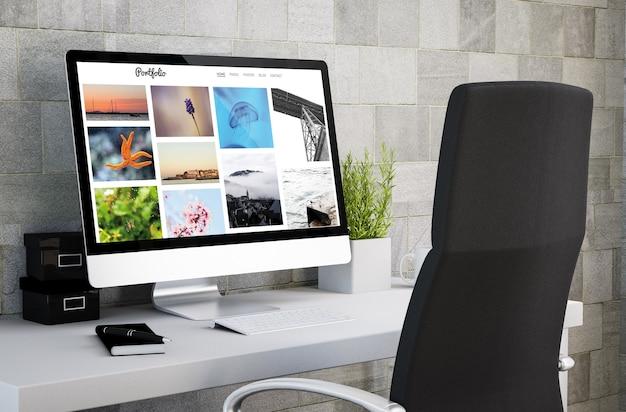 コンピュータ画面に写真ポートフォリオを表示する産業ワークスペースの3dレンダリング。