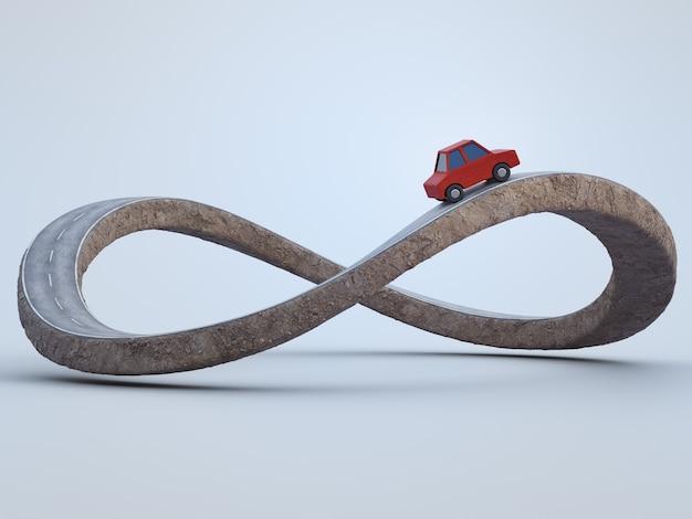 모험 경로 개념에서 무한대 기호 도로의 3d 렌더링