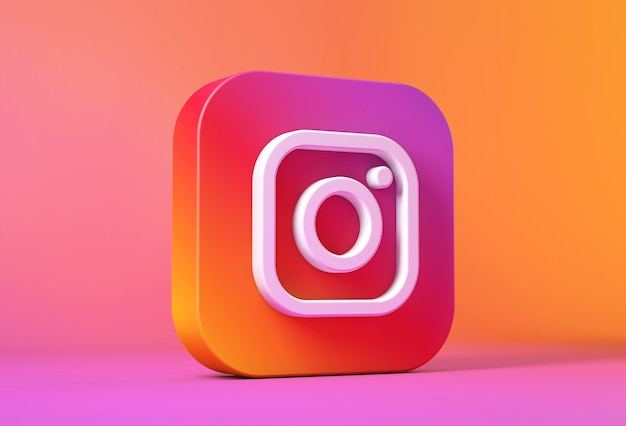 3d-рендеринг значка или логотипа instagram
