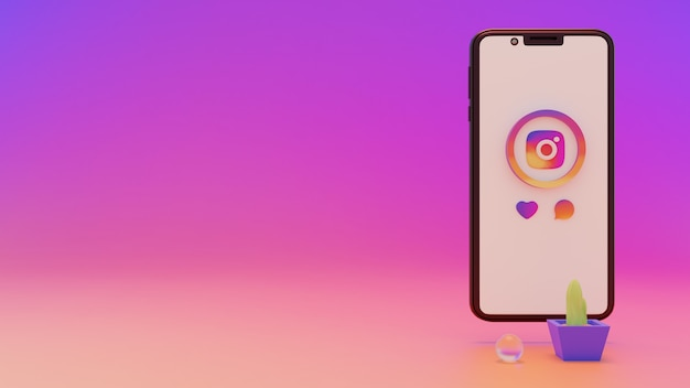 휴대 전화 화면에서 instagram 로고의 3d 렌더링