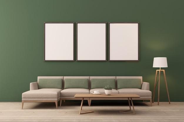3d-рендеринг дизайна интерьера для гостиной с фоторамкой на стене