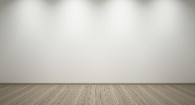 インテリアの3dレンダリング。ダウンライトと明るい木の床と空の白い壁。最小限のデザイン。空のインテリアの背景。