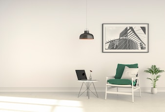 3D rendering of interior living room with armchair laptop computer