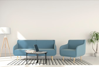 3D rendering of interior living room with laptop computer.