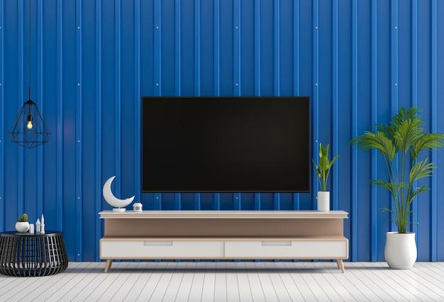 3d-рендеринг внутренней гостиной с металлической листовой стенкой, smart tv