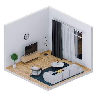3d-рендеринг интерьера гостиной с smart tv