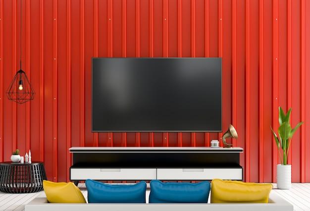 3d-рендеринг внутренней современной гостиной с smart tv и металлической листовой стенкой