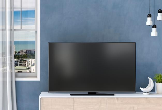 3d-рендеринг внутренней современной гостиной с интеллектуальным телевизором, шкафом и украшениями.