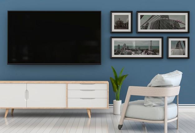 3d-рендеринг внутренней современной гостиной с телевизором smart, шкафом, креслом.