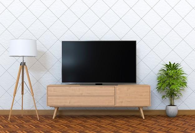 3d-рендеринг внутренней современной гостиной с интеллектуальным телевизором, шкафом, лампой и заводом.