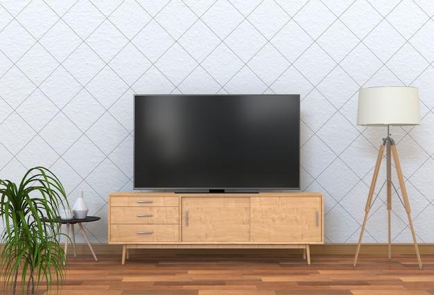3d-рендеринг внутренней современной гостиной с smart tv, шкафом, лампой и заводом
