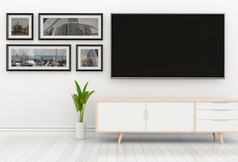 3D rendering of interior modern living room with Smart TV