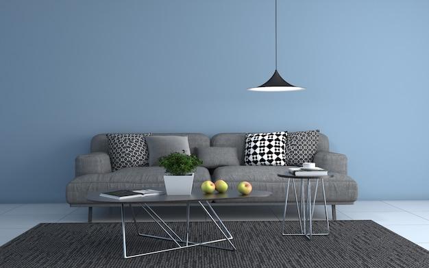 3d-рендеринг интерьера современной гостиной с диваном - диван и стол